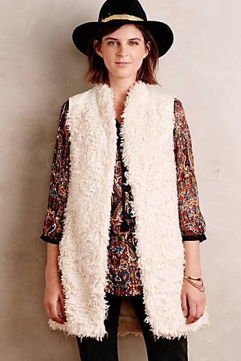 Embroidered Shaggy Vest