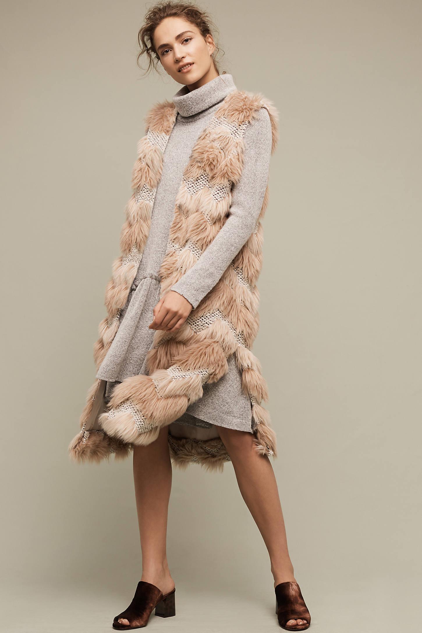 Chevron Faux Fur Waistcoat, Pink