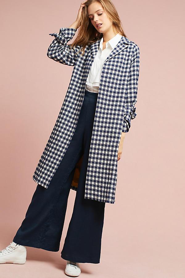 Gingham Tie-Cuff Coat