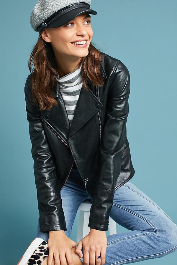 Michael Stars Convertible Leather Moto Jacket