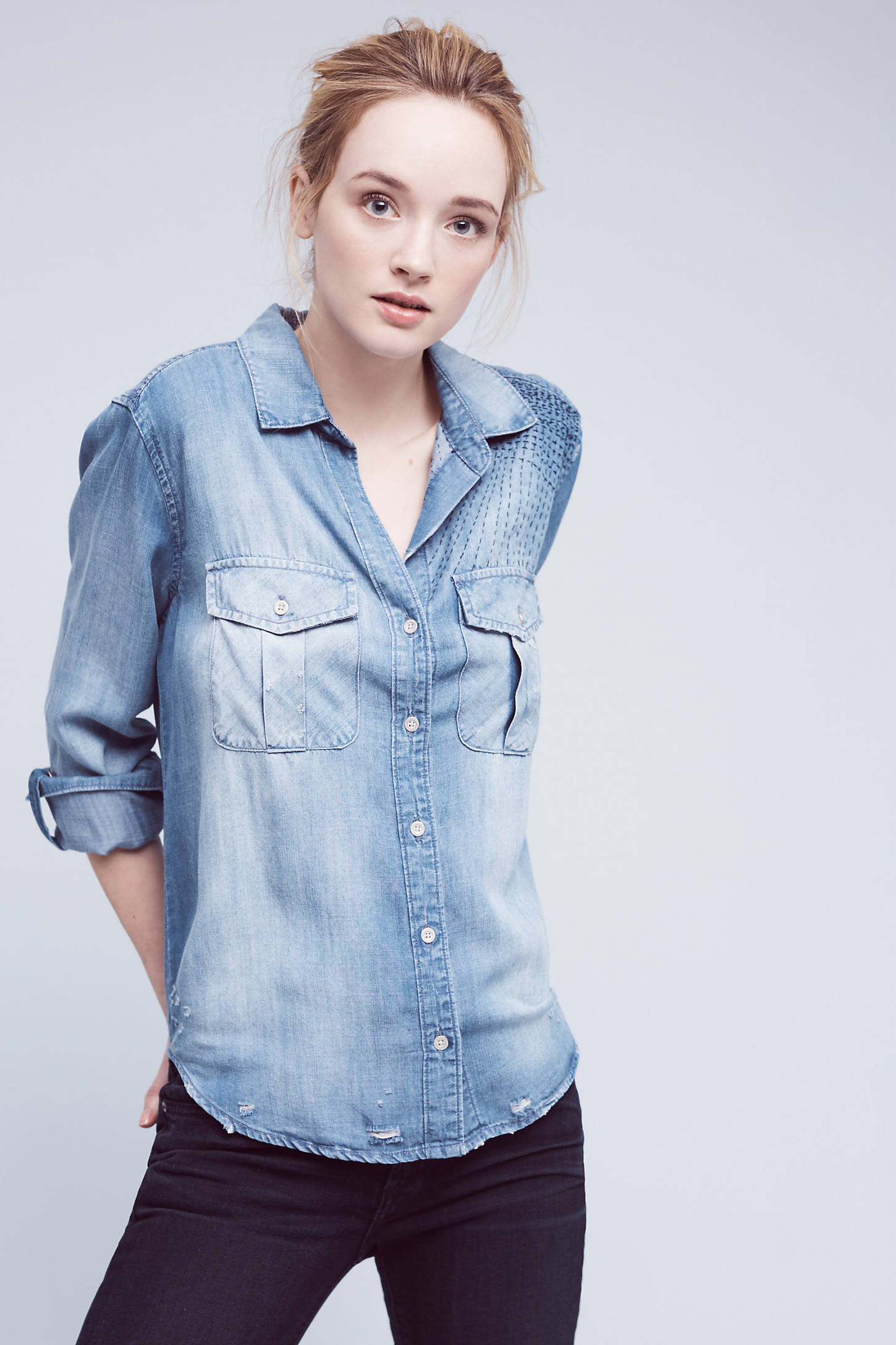 Lorian Embroidered Shirt, Blue