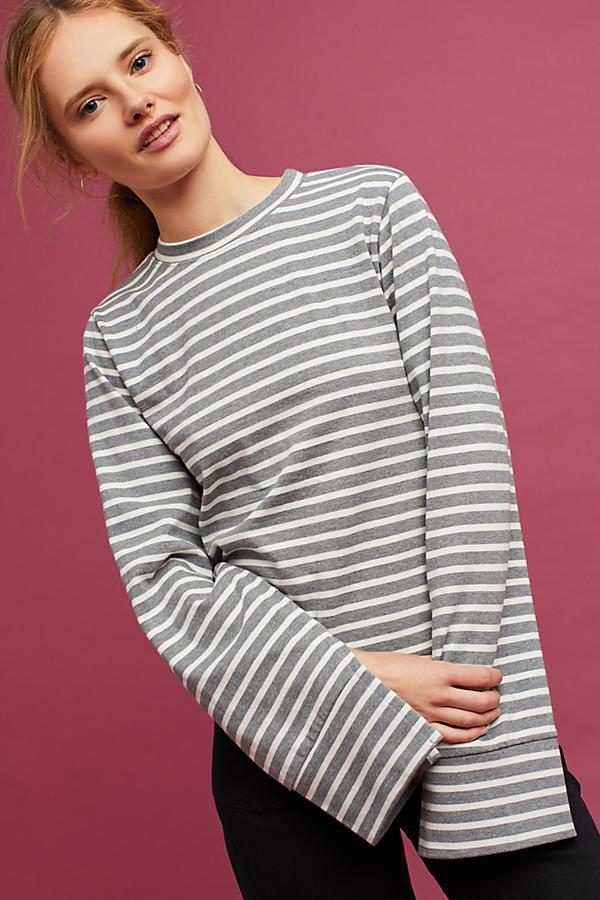 Split-Sleeve Striped Tee