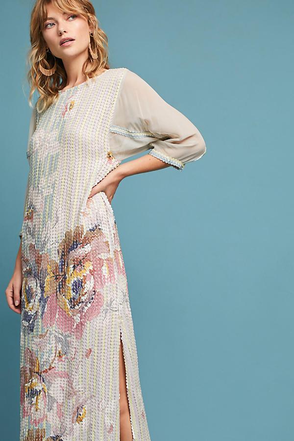 Embellished Floral Column Dress