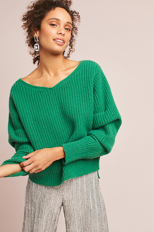 Ribbed Ruched-Sleeve Pullover