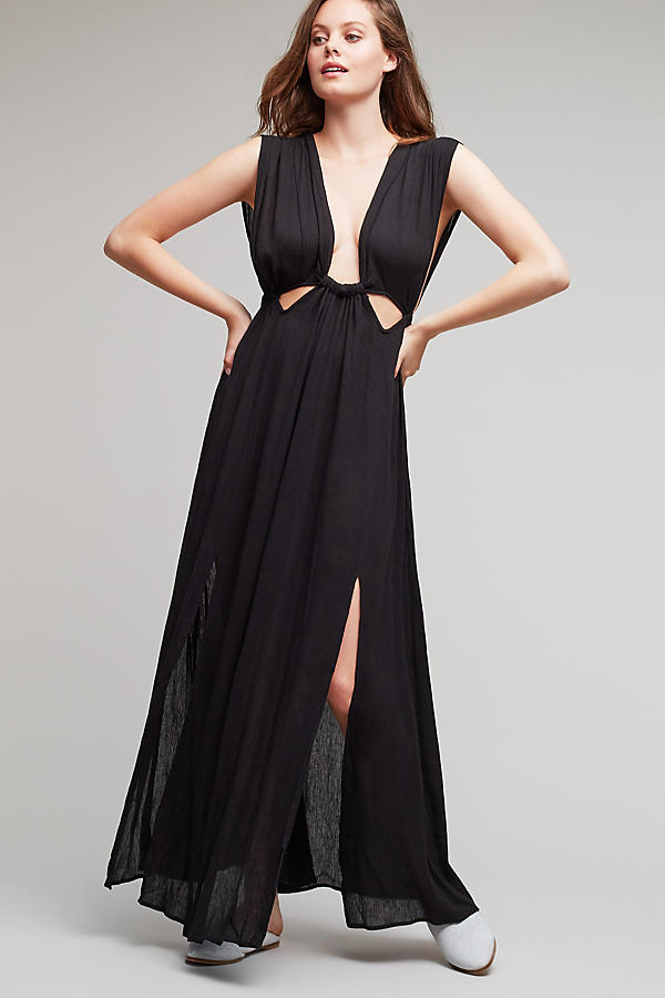 Robe longue plongeante Octavia, noire   Anthropologie