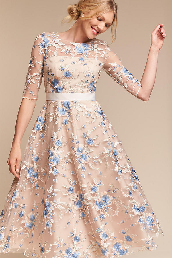 ae3df11aeea Asos Design Bridesmaid Floral Embroidered Dobby Mesh Flutter Sleeve Maxi  Dress