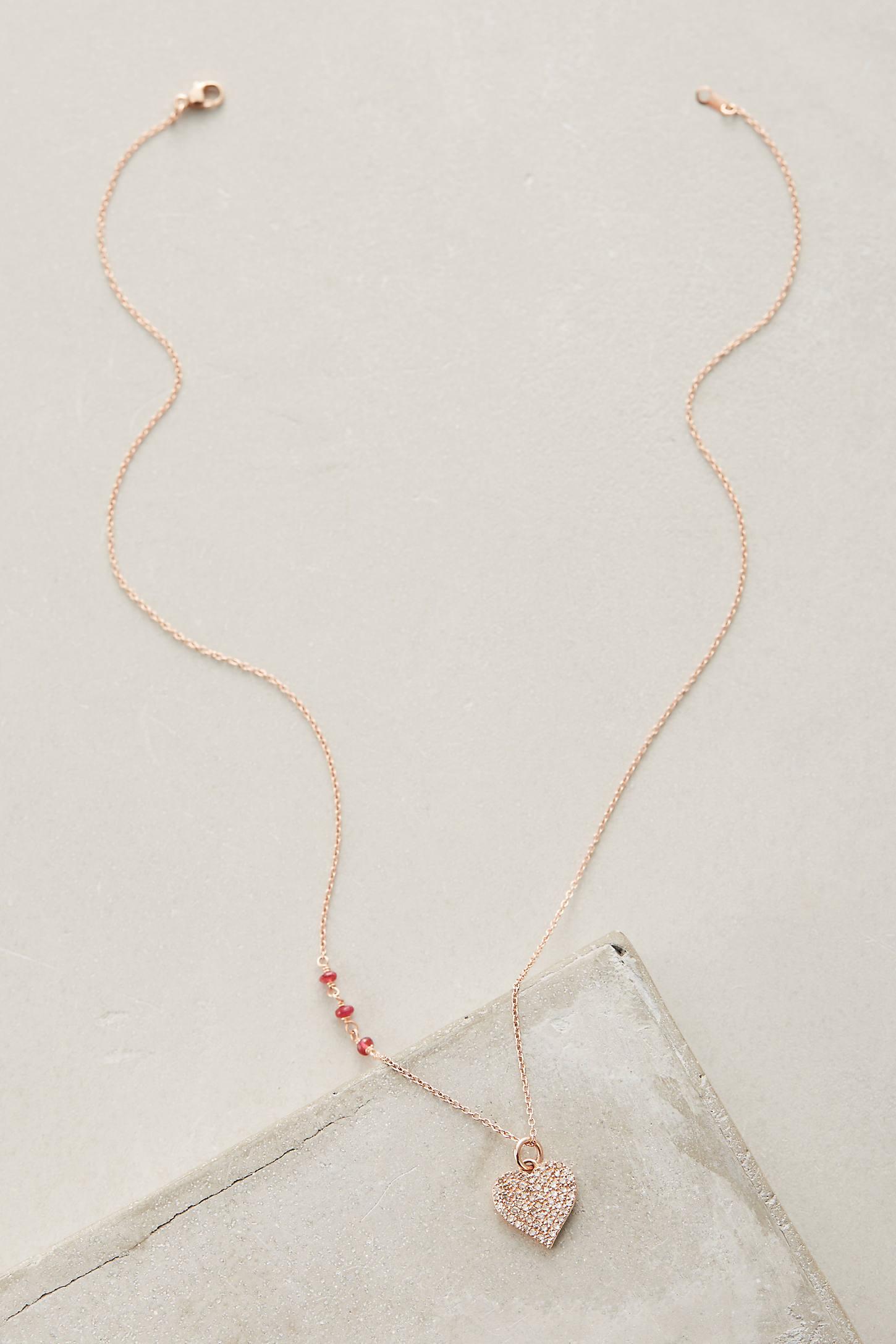 Ruby Heart Charm Pendant