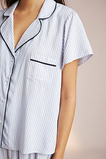 Pinstriped Tie-Back Sleep Shirt