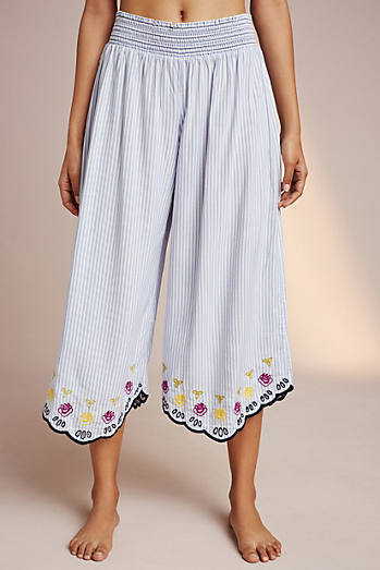Embroidered Pinstripe Sleep Pants