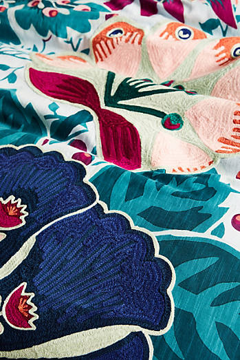 Liberty for Anthropologie Embroidered Feather Bloom Duvet