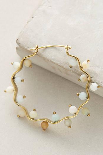 Scalloped Stone Hoop Earrings