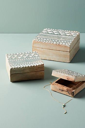 Embossed Wood Jewelry Box Set