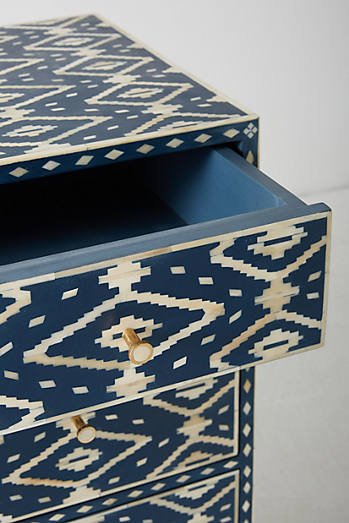 Ikat Inlay Three-Drawer Dresser