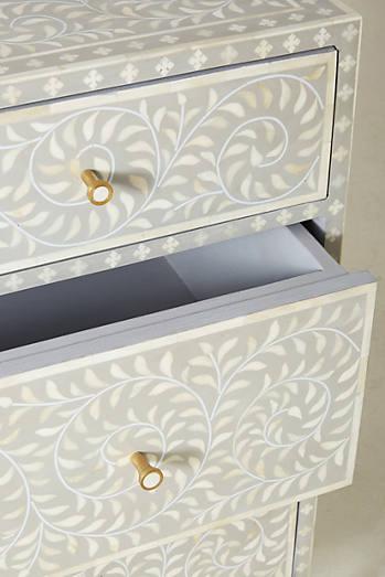 Scroll Vine Inlay Three-Drawer Dresser