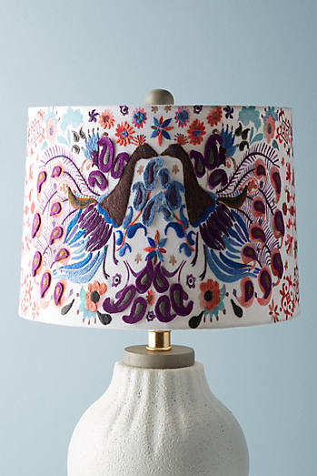 Peacock Badia Embroidered Lamp Shade