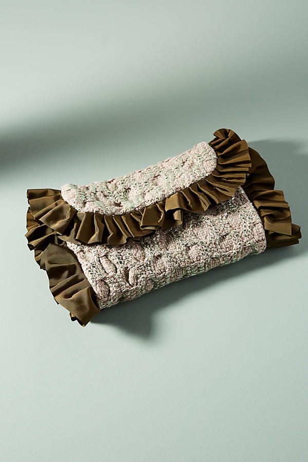 Ruffled Silk Clutch
