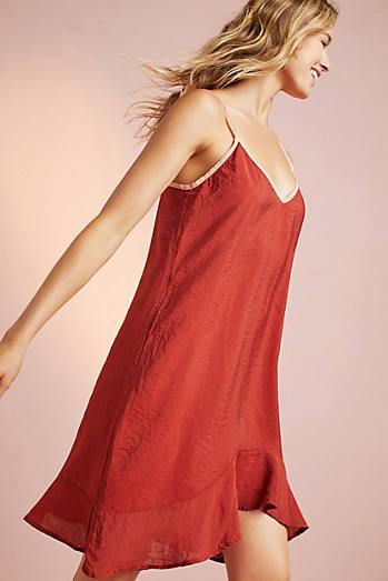 Asymmetrical Ruffled Slip Dress