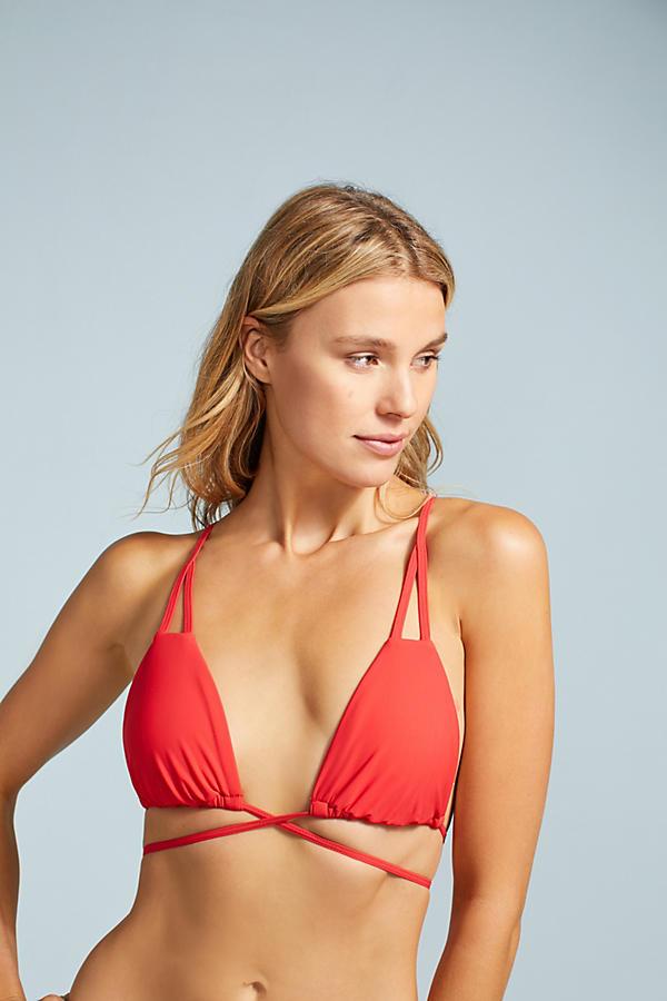 Red Carter Triangle Wrap Bikini Top