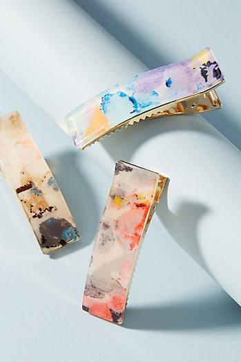 Watercolor Hair Clip Set