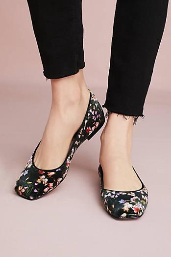 Bisue Ballerinas Square-Toe Floral Ballet Flats
