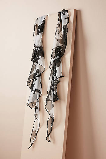Painted Florals Ruffled Scarf