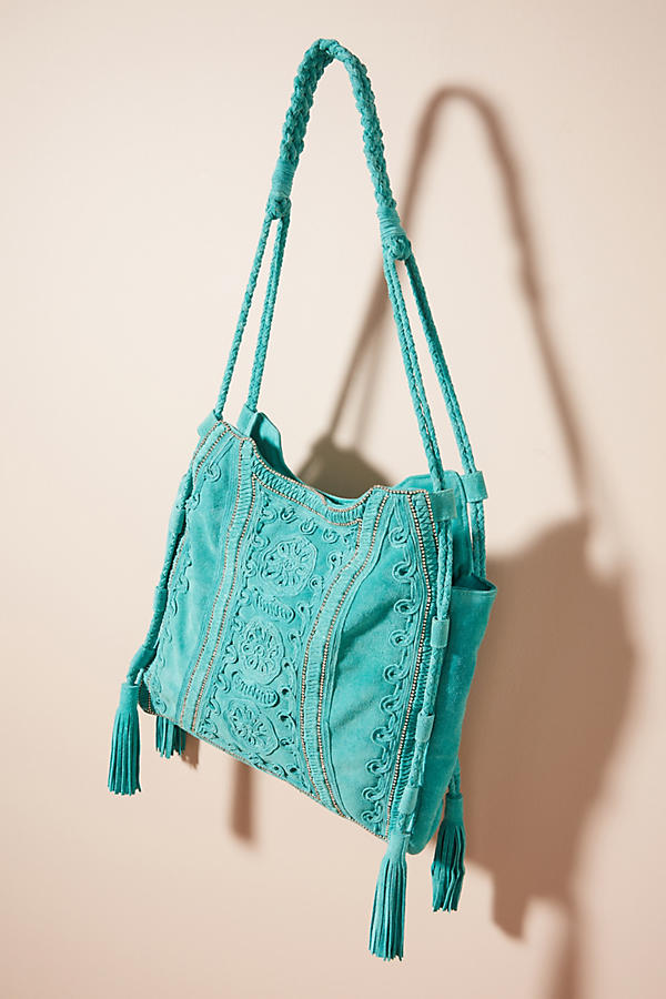 Embroidered Aqua Tote Bag