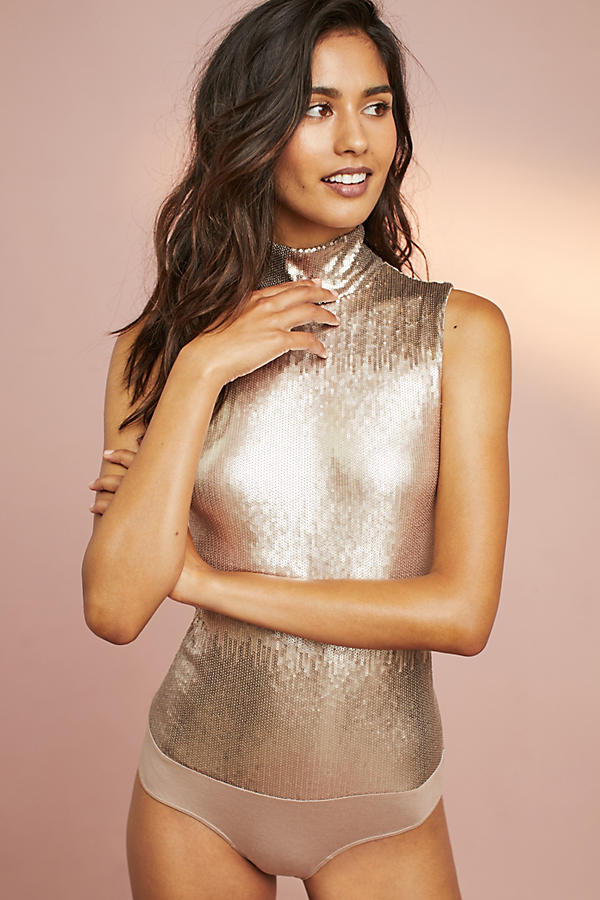 Sequin Mock Neck Bodysuit