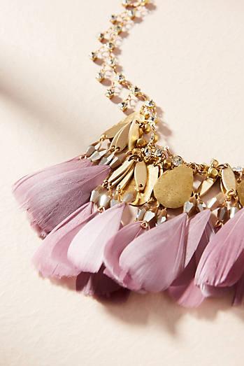 Fiona Feather Bib Necklace