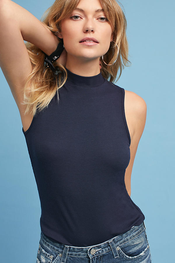 Ribbed Mock Neck Layering Tank