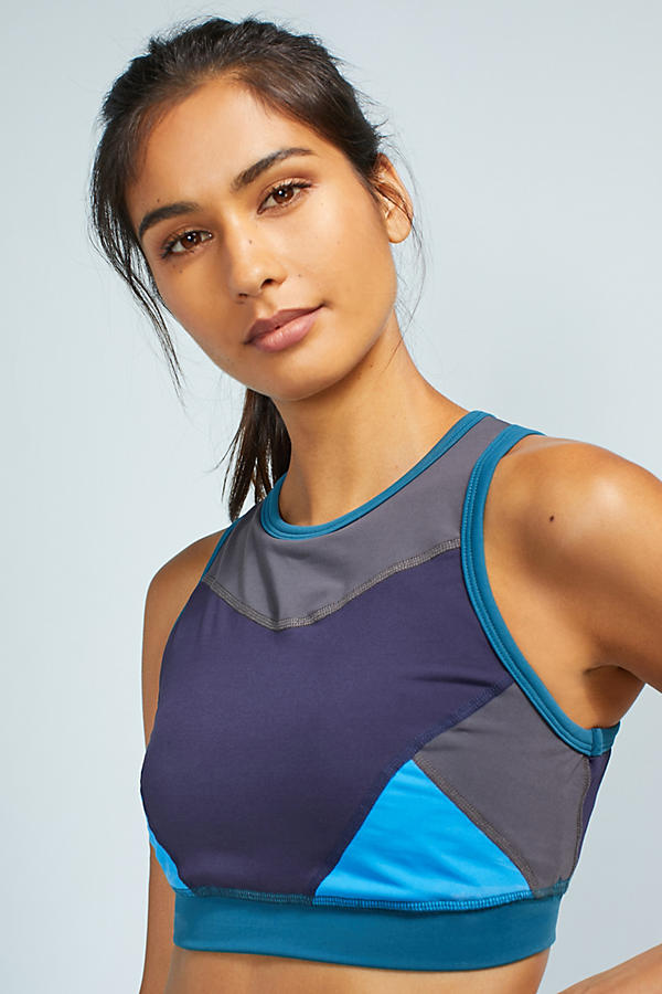 Colorblock High-Neck Sports Bra
