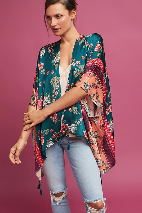 Jade Bordered Floral Kimono