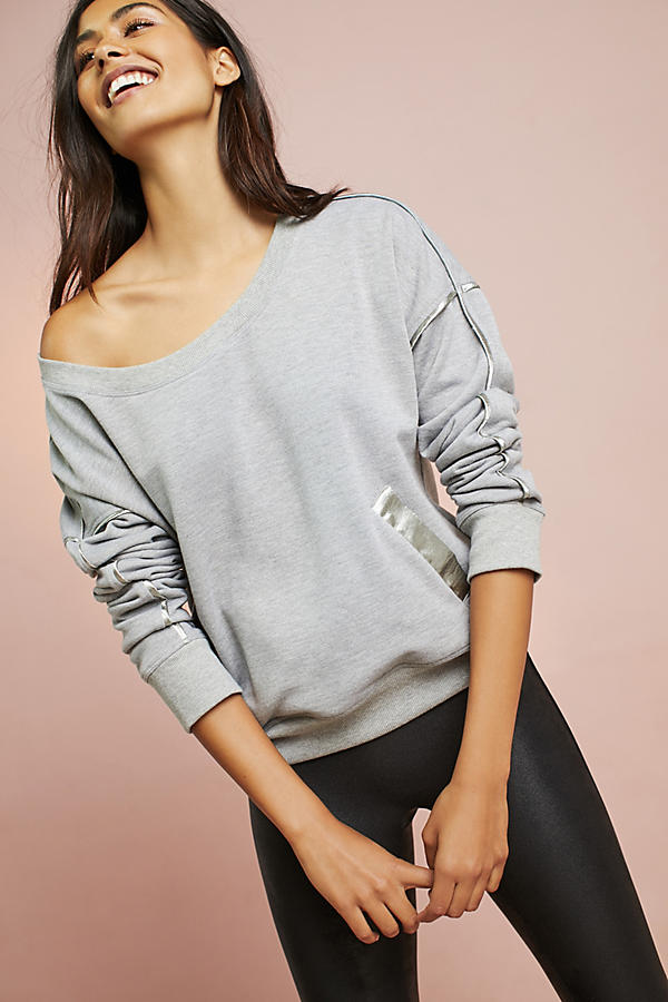 Satin-Trimmed Sweatshirt