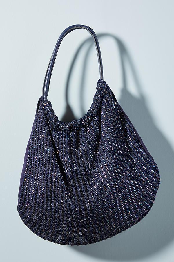 Shimmer-Knit Shoulder Bag