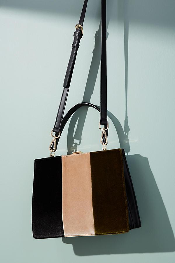 Colorblock Velvet Tote Bag