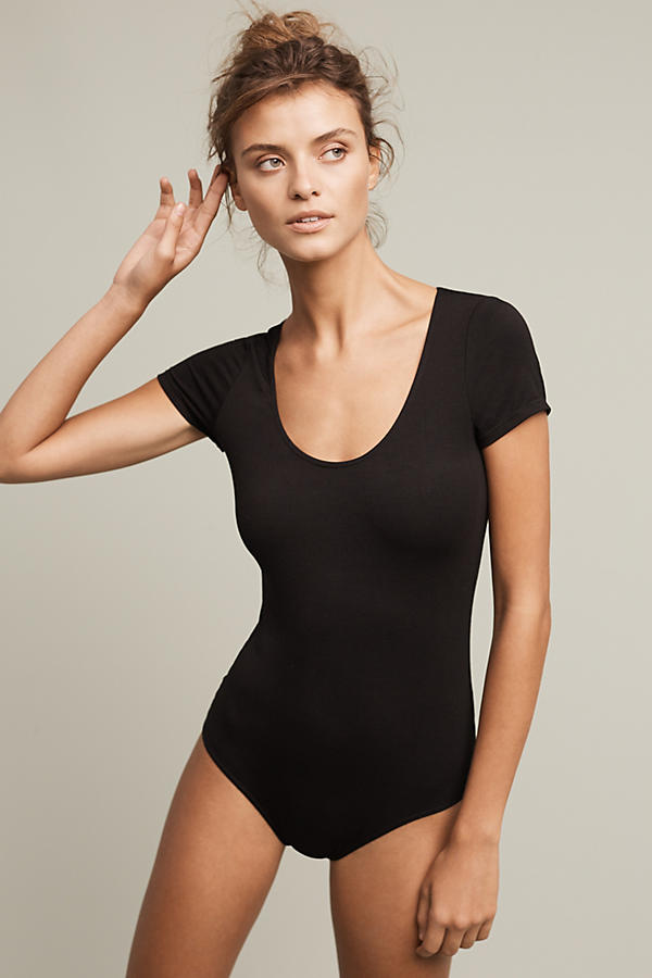 Cap-Sleeved Scoop Neck Bodysuit