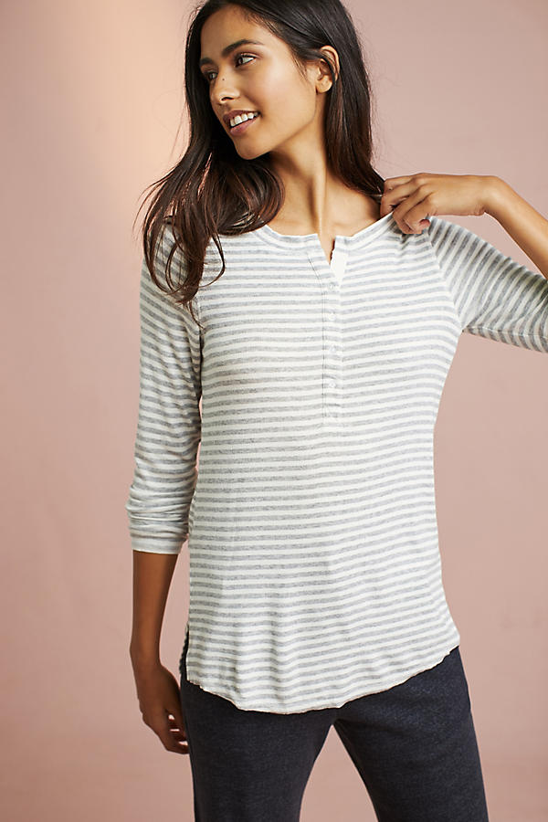 Striped Henley Layering Tee
