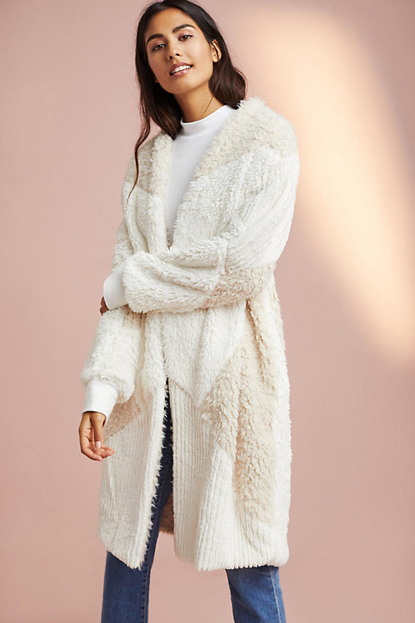 Faux Fur Patched Robe