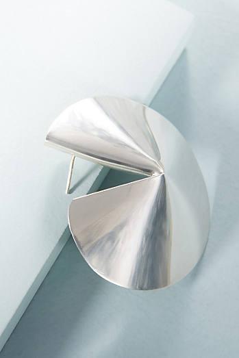 Silver Fortune Cookie Earrings