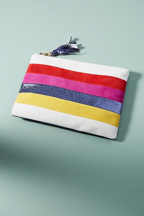Striped Metallic Pouch