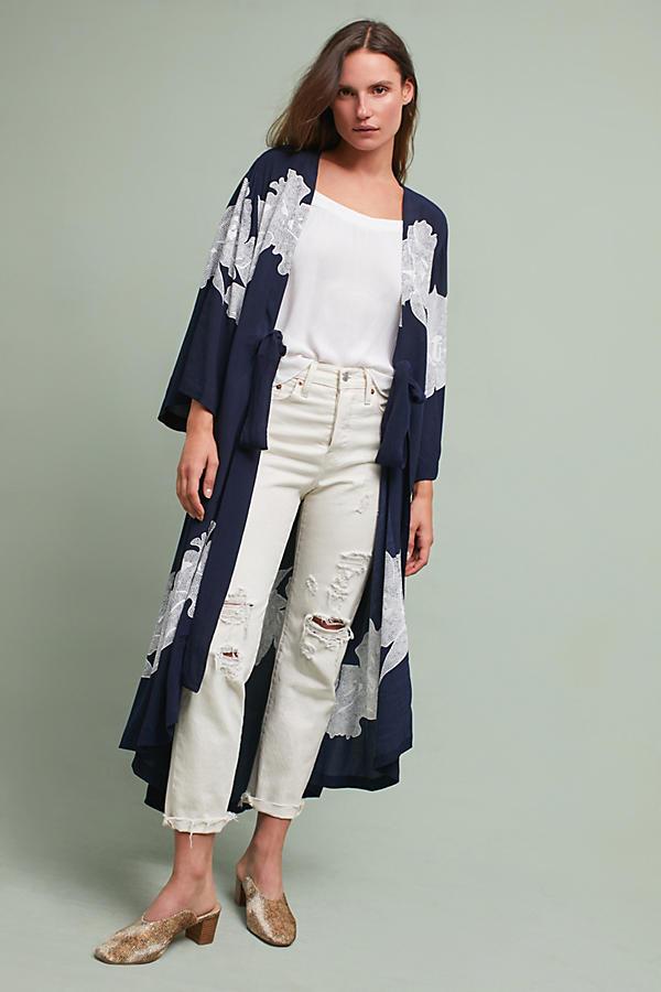 Orchid Striped Kimono