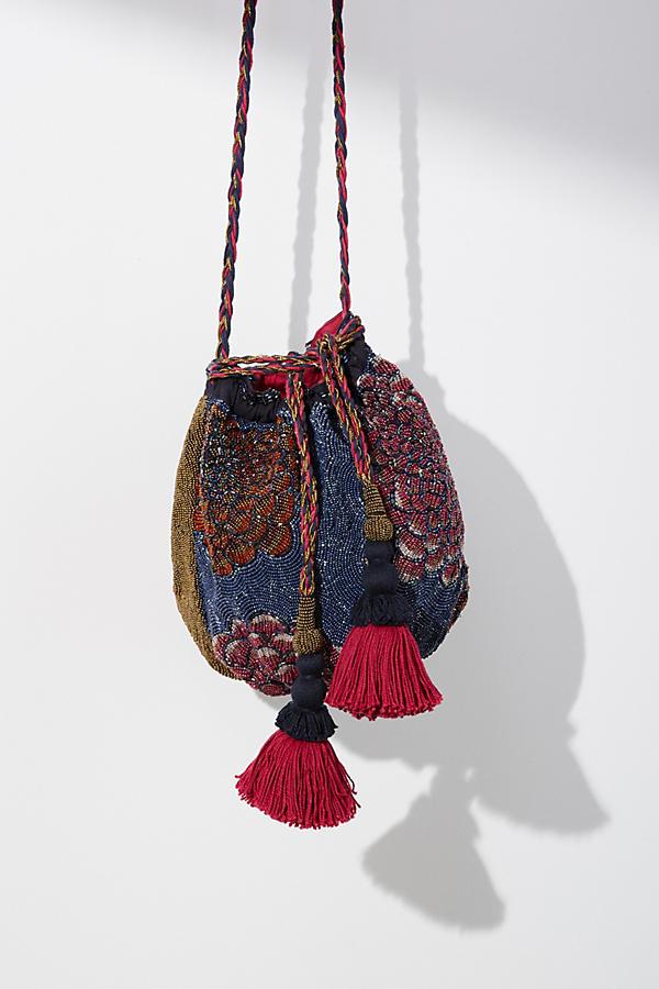 Floral Beaded Bucket Bag