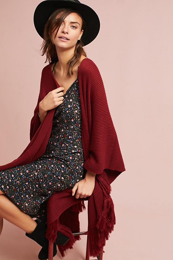Layered Fringe Knit Kimono