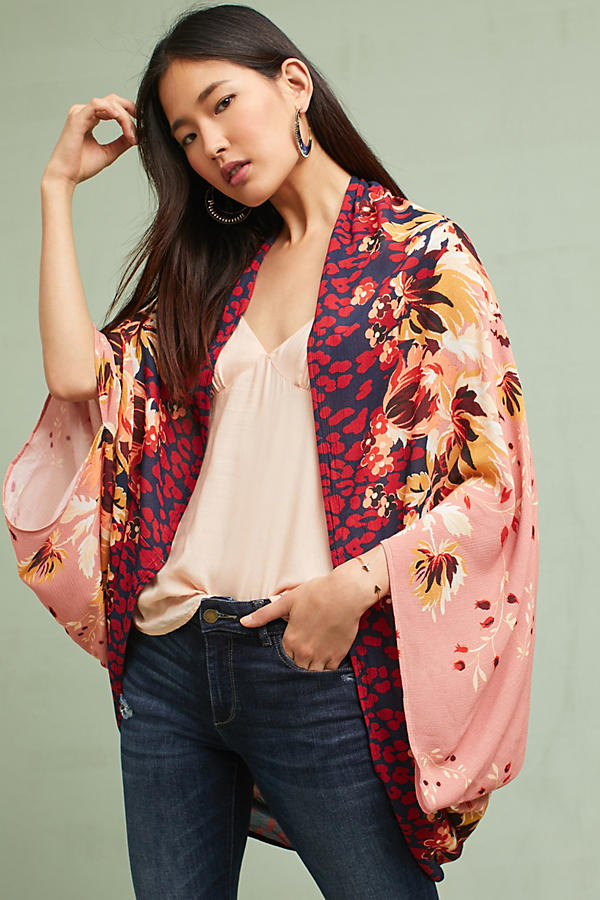 Floral Border Cocoon Kimono