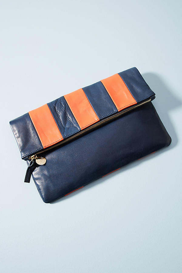 Clare V. Striped Foldover Clutch