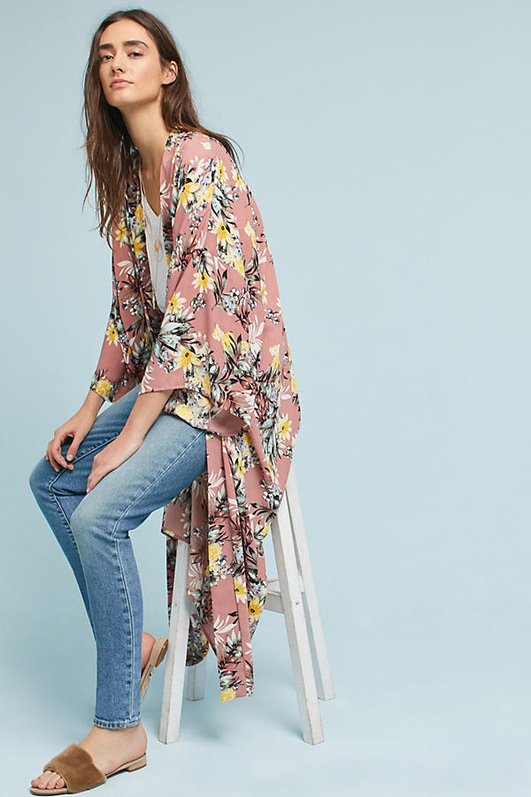 Pastel Floral Long Kimono