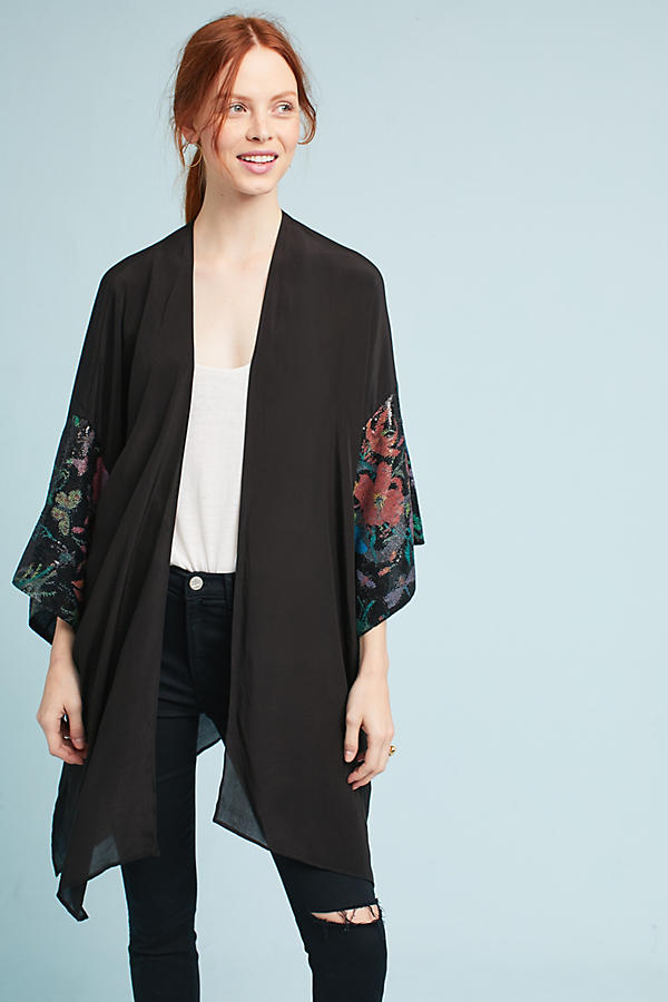 Sequined Floral-Sleeve Kimono