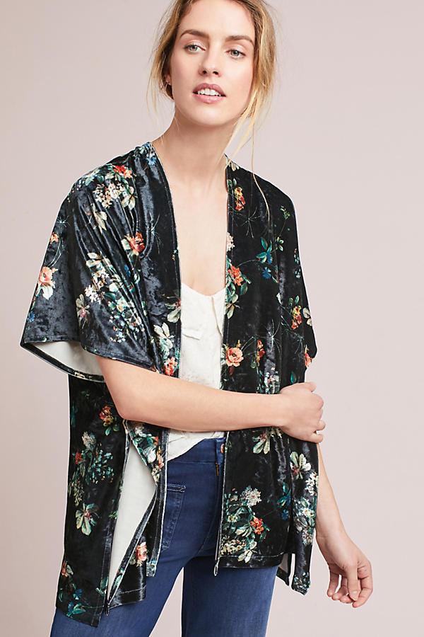 Shelburn Floral Velvet Kimono