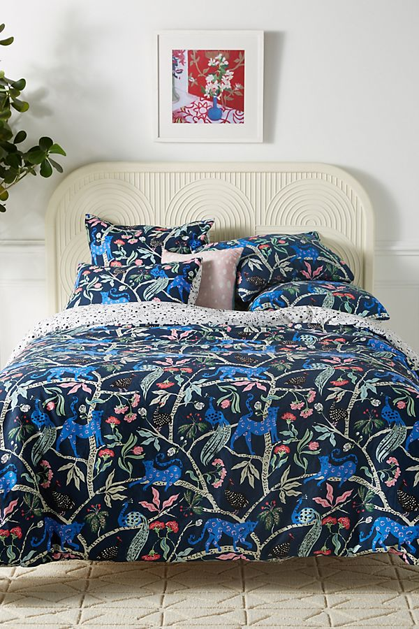 Slide View: 1: Emily Isabella Midnight Jasmine Duvet Cover