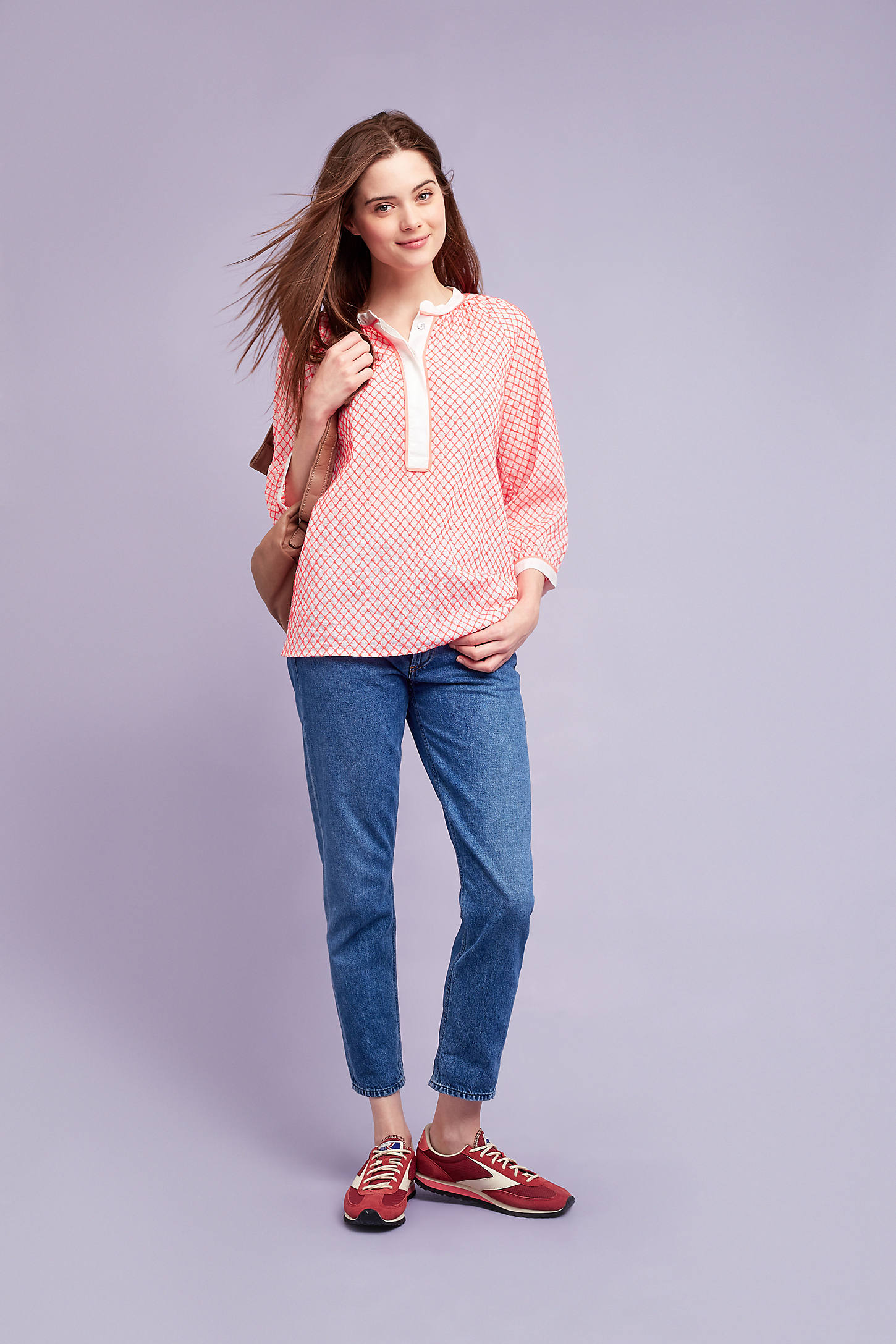 Hallie Embroidered Henley Top, Pink