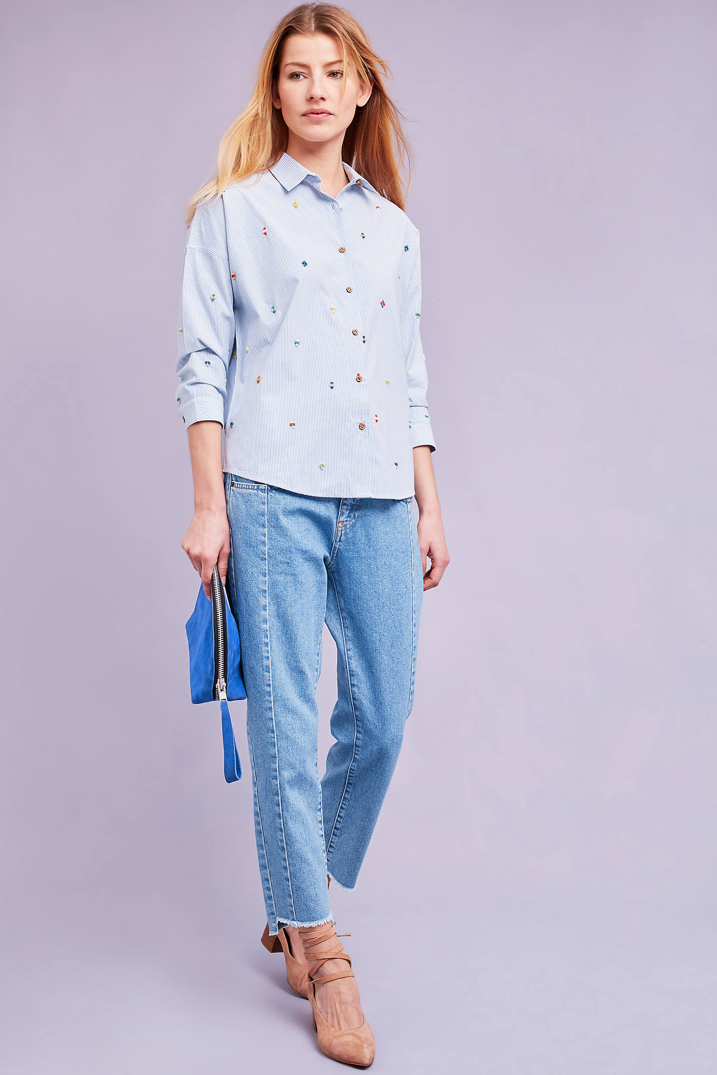 Elodie Striped Beaded Shirt, Blue